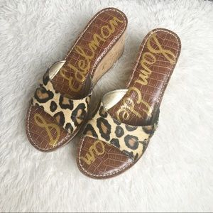 Sam Edelman Rein Leopard Calf Hair Wedge Sandal